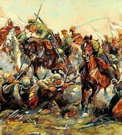 Bitwa pod Krechowcami - fragment obrazu z 1920 r. Źródło: dobroni.pl